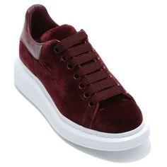 Women's Alexander Mcqueen Sneaker (15 180 UAH) ❤ liked on Polyvore featuring shoes, sneakers, burgundy velvet, platform sneakers, lacing sneakers, platform trainers, alexander mcqueen shoes and tall shoes