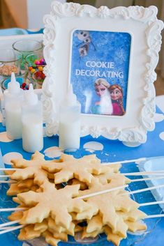 Cookie making station at a Frozen birthday party! See more party ideas at CatchMyParty.com!