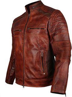 Men's Vintage Cafe Racer Brown Biker Leather Jacket (XL - to fit chest Brown Leather Jacket Men, Best Leather Jackets, Designer Leather Jackets, Vintage Leather Jacket, Brown Jacket, Cafe Racer Leather Jacket, Motorcycle Leather, Biker Leather, Leather Men