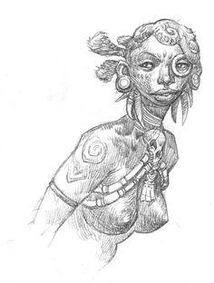 Drawings pulled from the sketchbooks of fantasy artist Steve Prescott.