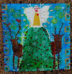 Tracey Ann Finley Original Outsider Raw Folk Painting WOODLAND CHRISTMAS ANGEL #OutsiderArt