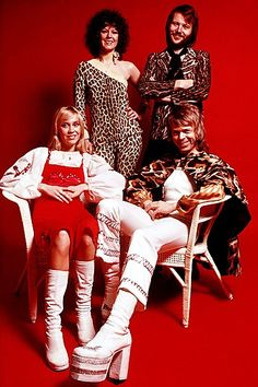 Abba circa 1975: Back row, Anni-Frid Lyngstad, Benny Andersson, front row, Agnetha Fältskog and Björn Ulvaeus #travelscandinavia