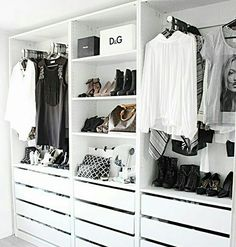 Add style and storage space to your bed room with these open closet designs STYLECASTER Wardrobe Closet, Master Closet, Closet Bedroom, Closet Doors, Wardrobe Doors, Walk In Closet Ikea, White Closet, Ikea Open Wardrobe, Small Walk In Wardrobe