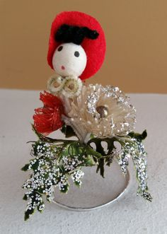 Vintage Spun Cotton Head Holly Red Hat Girl Christmas Decoration