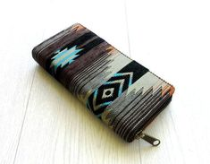 Native Inspired Zippered Wallet, Navajo Southwestern Womens Long Wallet Clutch, Handmade Cotton Velvet wallet, YKK Metallic zipper