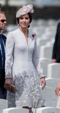 Catherine Duchess of Cambridge attends the commemorations at the Tyne Cot Commonwealth War Graves Cemetery on July 31 2017 in Ypres Belgium The...