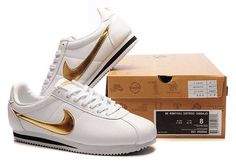 Nike Cortez Leather Men Shoes White Gold
