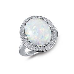 Opal Statement Ring in Platinum-Bonded Sterling Silver with Simulated Diamonds, MSRP $215.