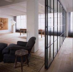 A loftlike space by Belgian architect Vincent Van Duysen. Inspiration Wall, Interior Design Inspiration, Interior Exterior, Interior Architecture, Interior Windows, Room Interior, Glass Room Divider, Room Dividers, Internal Doors