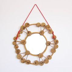 Vintage Bamboo and Rattan Sunburst Mirror / Round Wicker mirror with spirals and red cord / Beach house