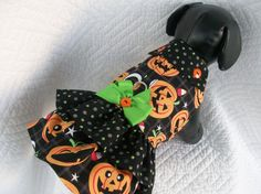 Medium Ready to Ship Pumpkin  Dog Dress or Cat Dress  Double Ruffle  and Collar Harness Dress