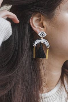 ✋Handmade and handpainted statement earrings.✋  Very lightweight due to chosen materials, perfect for every occasion. Each earring pair is packed in a branded box and shipped within another post box for safety.  All pieces are unique so they may slightly vary from the model in the photo