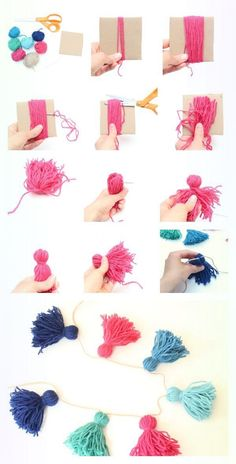 Dress Up Their Dorm with 14 DIY Room Decor Gifts - thegoodstuff : Pom Pom garland to put on fabric banner for girls beds Have your little ones grown up into college students? Add a touch of home to their dorm room with these 14 DIY room decor gifts. Cute Diy Room Decor, Diy Room Decor For Teens, Diy Crafts For Bedroom, Crafts For Girls, Diy For Girls, Cute Diys For Teens, Diy Home Decor Bedroom Girl, Kids Crafts, Living Room Decor