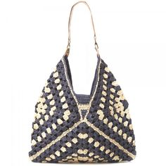 Gorgeous graphic #crochet #bag with granny crochet squares.