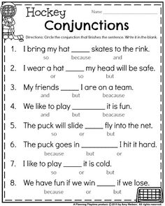 Grade Worksheets for January grade winter worksheet for January - Hockey grade winter worksheet for January - Hockey Conjunctions. 2nd Grade Reading Worksheets, Homeschool Worksheets, English Worksheets For Kids, 1st Grade Writing, Reading Comprehension Worksheets, First Grade Activities, First Grade Reading, Kids Worksheets, Homeschooling 2nd Grade