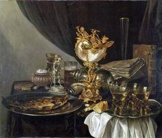 Pieter Claesz,(Dutch Baroque Era Painter, ca.1597-1660),  Still Life with a Nautilus Cup, 17th century