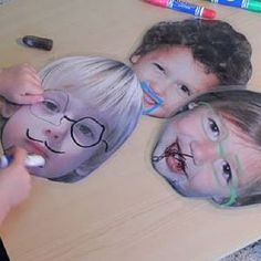 Fun With Faces (and more ideas) --laminated photos to draw on with dry erase markers. Large size would be a fun toddler gift, smaller size was fun in the car Craft Activities For Kids, Projects For Kids, Preschool Activities, Diy For Kids, Cool Kids, Crafts For Kids, All About Me Activities For Toddlers, All About Me Preschool Theme, Craft Ideas