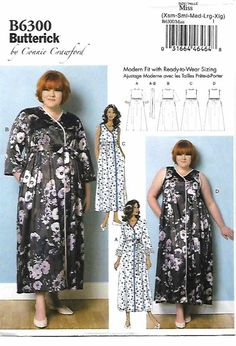 Butterick+Sewing+Pattern+6300+Women's+Plus+Size+18W-44W+Robe+Nightgown+Negligee+Connie+Crawford