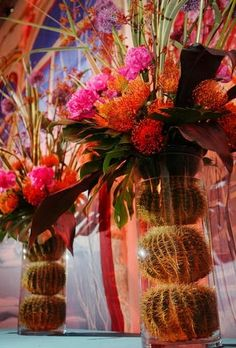 ohmigoodness what an idea for wedding decorations! i love the feel that could be feminine and masculine together, the flair of flowers with a cool southwestern austerity