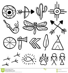 Hand Drawn Doodle Vector Native American Symbols Set - Download From Over 55 Million High Quality Stock Photos, Images, Vectors. Sign up for FREE today. Image: 57727195
