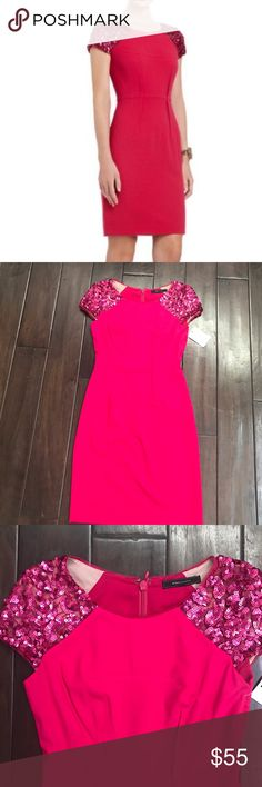 NWT BCBG Dress Stunning pink NWT BCBG dress. Sequin detail on the shoulders. Zipper down the back. BCBG Dresses Mini