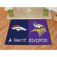 Denver Broncos/Minnesota Vikings NFL House Divided All Star Floor Mat Denver Broncos Gear, Nfl Denver Broncos, Broncos Fans, Discount Shopping Sites, Viking House, Nylon Carpet, House Divided, Time Shop, Minnesota Vikings