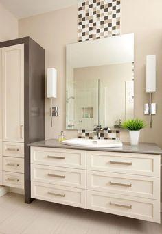 Combine Storage and Style With Bathroom Cabinets - Life ideas Ensuite Bathrooms, Bathroom Renos, Bathroom Layout, Bathroom Cabinets, Bathroom Renovations, Modern Bathroom, Bathroom Design Inspiration, Bathroom Interior Design, Classic Baths