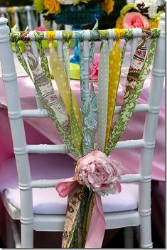 Ribbon Embellished Chair.