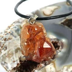 skj-jewelry - Natural Hessonite Druzy Garnet Gemstone Pendant