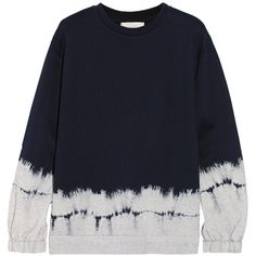 Stella McCartney Tie-dyed cotton and wool-blend fleece sweatshirt ($250) ❤ liked on Polyvore featuring tops, hoodies, sweatshirts, sweaters, haut, sweater/jumper, sweatshirt, blue, blue tie dye sweatshirt and cotton sweatshirts