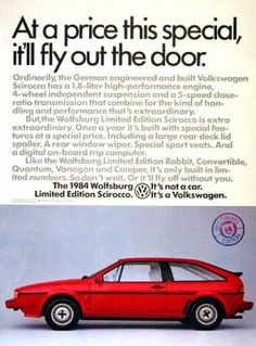 Produced once a year, the Wolfsburg Edition included rear spoiler, rear window wiper, sports seats, and digital trip computer. Volkswagen, Porsche, Auto Union, Vw Scirocco, Vw Vintage, Performance Engines, Sport Seats, Thing 1, Vw Cars