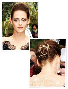 KristenStewart wore a gold chain intertwined in her low chignon Beauty Makeup, Hair Makeup, Hair Beauty, Hair Necklace, Low Chignon, Bold And The Beautiful, Hair Ornaments, Fashion Beauty, Photo Galleries