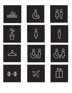 I had the interesting challenge of working on hotel signage for the ALT Hotel in Halifax. This included the hotel room numbers, large way-finding panels, emergency exit signs, floor numbers and original pictograms.Project done for LEMAYMICHAUD Archite… Hotel Signage, Door Signage, Wayfinding Signs, Office Signage, Washroom Signage, Hotel Branding, Emergency Exit Signs, Wc Sign, Washroom Design
