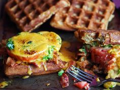 Welsh Rarebit on Beer Waffles and Apsaragus with Parmesan Pudding. Seriously. Thats what it says.