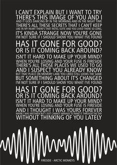 Arctic Monkeys AM - Fireside - Song lyric poster typography art print