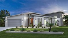 Mandalay Our Designs, Sydney - North (Brookvale) Builder, GJ Gardner Homes Sydney - North (Brookvale) Modern House Facades, Modern House Plans, Modern House Design, Facade Design, Roof Design, Exterior Design, Facade House, House Roof, Mandalay