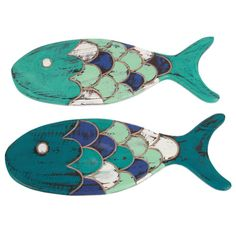 Painted Wood Fish Wall Decor --- Fish Shaped Wood Wall Decor Add coastal beach decor to your Seaside home with this fish shaped wood wall sign from Bali! Wood fish features handcarved design with pastel color palette. Fish Wall Decor, Fish Wall Art, Wall Decor Set, Wood Wall Decor, Fish Art, Wall Art Sets, Wood Fish, Wooden Textures, Fish Shapes