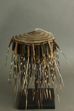 A fantastic porcupine quilled ceremonial hat. Kaka – Cameroon