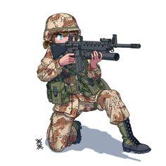 Anime Military, Military Girl, Comic Pictures, Manga Pictures, Cute Cartoon, Cartoon Art, Guerra Anime, Character Art, Character Design