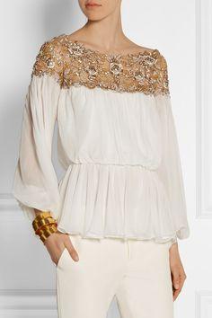 Marchesa Embellished silk-chiffon top $3,750