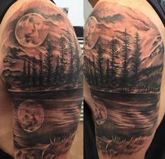 Almost perfect for my back idea. Add rowboat resting at the shoreline with IX.III.MMXI carved into the side and black wolf stalking in the trees. Also, probably leave out that northern star.