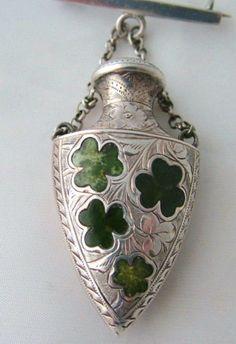 Victorian Irish silver chatelaine perfume bottle/brooch