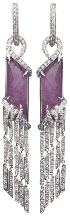 Stephen Webster - 'Forget Me Knot' Fringe earrings set in 18ct white gold with white diamonds and ruby crystal haze