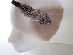 Champagne Beige Gatsby Headband 1920s Headband by GothamCityStyle, $35.00