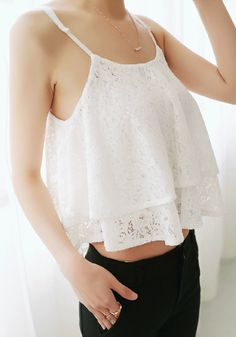 Double Layers Crop Top - White @LookBookStore