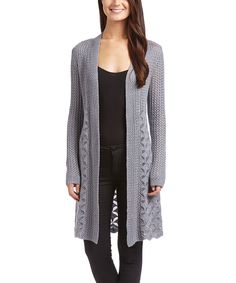 This Belldini Heather Gray Mixed-Knit Open Cardigan by Belldini is perfect! #zulilyfinds
