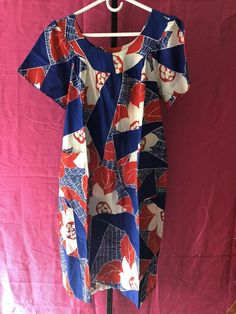 f3264b54c57 Vintage Graphic Floral Muumuu Shift Dress TIKI MCM 60s 70s Pop Art  Patriotic  Unbranded  Hawaiian  Casual