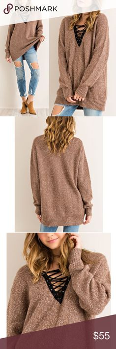 TAMARA cross cross sweater top - MOCHA Uber comfy v-neck sweater top with criss cross front detail.  Non-sheer. Oversized.   AVAILABLE IN MOCHA AND H.GREY  70%ACRYLIC 20%POLYESTER 10%COTTON  NO TRADE  PRICE FIRM Bellanblue Tops Tees - Long Sleeve