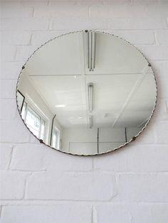 Vintage rond bord biseauté mur miroir Art déco miroir par uulipolli