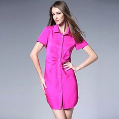 Flash Sale: 70% off hot pink shirtdress. This vibrant dress is such an amazing deal this week! Get it now for only $33.99. It can be easily styled for work and then happy hour drinks.